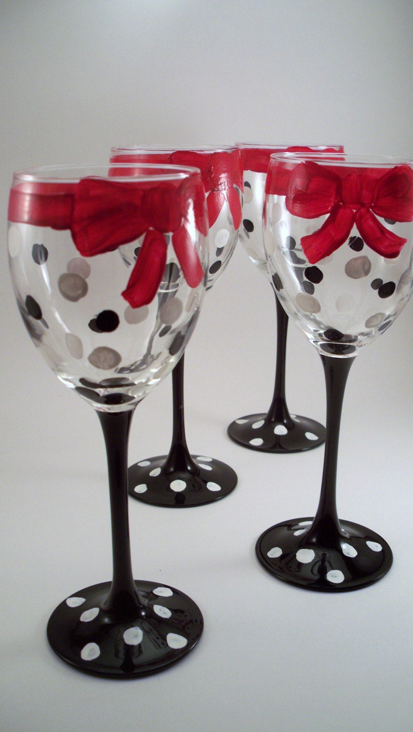 Sale hand painted wine glasses black and white polka by Images of painted wine glasses