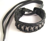 Long Bike Chain Cuff Recycled Bicycle Jewelry Mens Metal Steel Black Rubber Bracelet