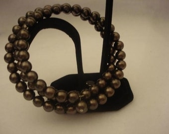 Vintage 1990s Chocolate faux Pearl Wrap around Bangle Fall Jewelry accessory brown chic neutral Elegant Formal COUPON