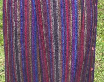SALE...Vintage  1980s Wool Skirt size 7/8 by Baronesa Striped Colorful Ethnic Button up Unique Unusual Womens   CLEARANCE