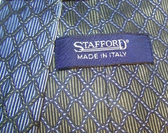 Vintage 80s Stafford Tie Made in Italy Blue/Green mens accessory designer style trendy mens accessory chic savvy business office COUPON