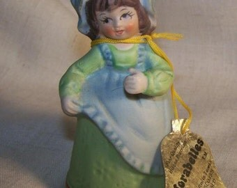 Vintage 1970s Jasco Adorabelles Girl Holding Apron Bell 2 series collection collectable little girl Bisque Porcelain kitsch Holiday COUPON