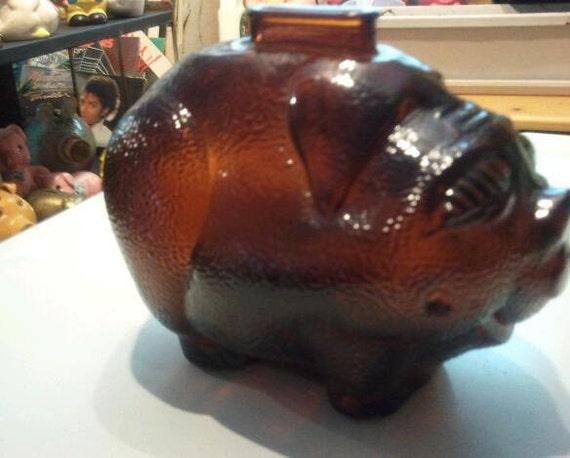 Large Vintage Dark Amber Glass Pig Piggy Bank