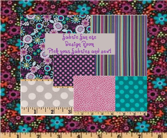 Private listing for Patricia Back to School Fall Michael Miller Fabrics Lazy Daisy Gray, Purple and Orchid Coordinated Fabrics