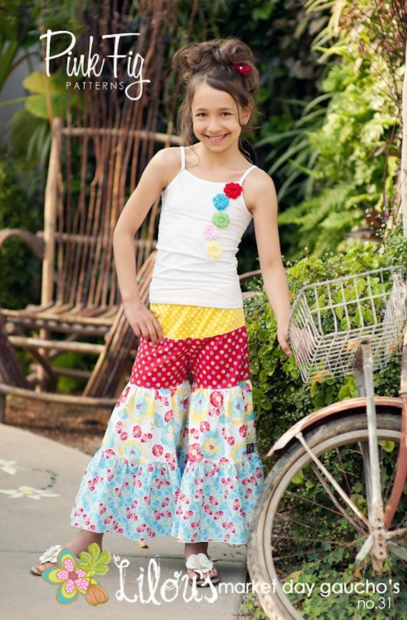 Boutique Custom Gaucho Girls Pants Pink Fig Pattern No. 31  FREE SHIPPING