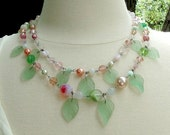 Pink Green Necklace Set Gentle Spring