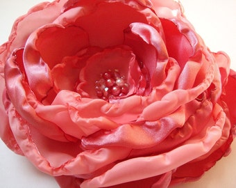 Coral Fabric Summer Flower for Hair or Brooch