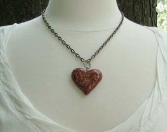 Red and Gold Flecked Heart Pendant