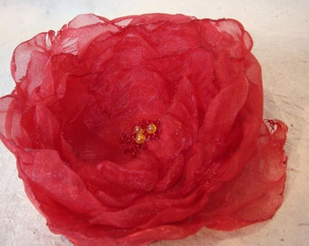 Red Rose Flower Brooch or Hair Clip