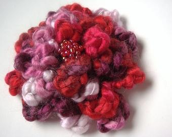 Crochet Flower Brooch in Valentine Colors