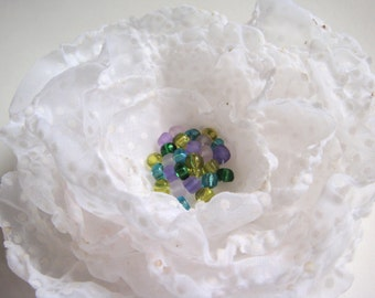 Beaded Hair Flower in White Dotted Swiss