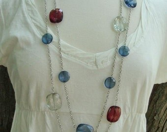 Necklace Earring Set-Blue Green Red Acrylic