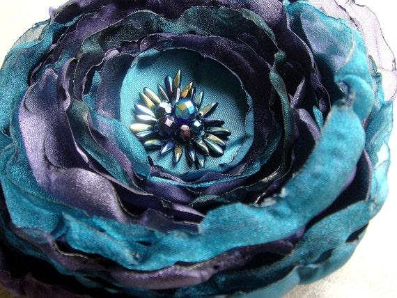 Purple Teal Beaded Flower for Hair or Brooch