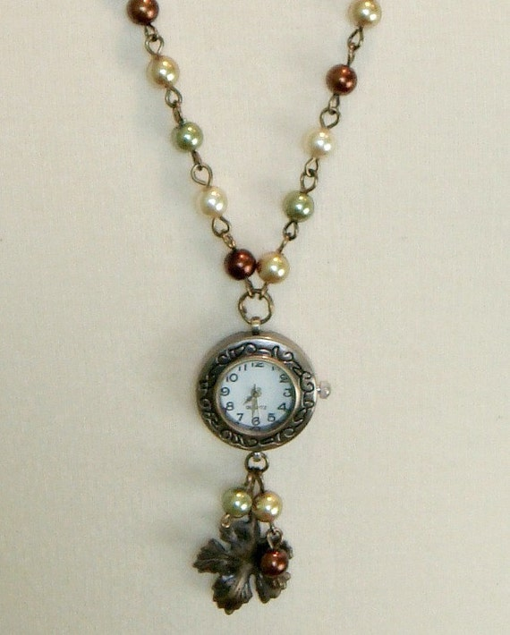 Antique Brass Watch Pendant in Green Brown Gold