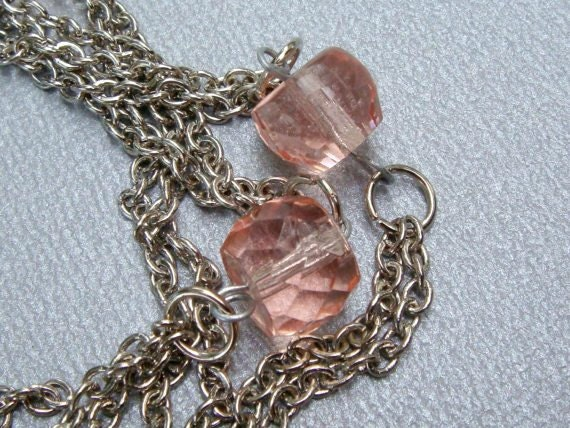 Pink Crystal Chain Necklace Set