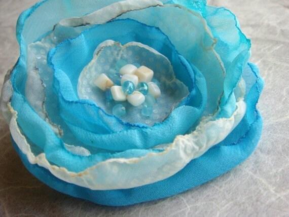 Beaded Flower Brooch or Hair Aqua Ivory Sand Sea