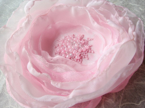 Soft Pink Beaded Flower for Brooch or Hair