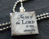 The joy of the Lord is my strength. (Brown) 1 inch Wooden Square Tile, Inspirational Pendant Necklace