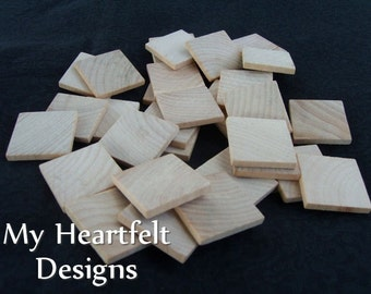 1 inch Wooden Square Tiles (Lot of 100) Unfinished Wood Pieces
