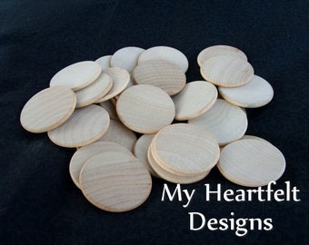 1.5 inch Wooden Round Circles (Lot of 30) Unfinished Wood 1-1/2 inches // DIY Crafts & Weddings
