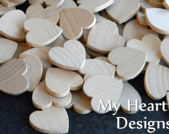 1 inch Wooden Heart Cutouts (Lot of 100) Unfinished Wood, Weddings, Party Favors, Holidays DIY Crafts