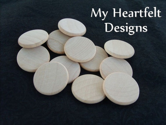 1 inch Wooden Round Circles (Lot of 50) Unfinished Wood Pieces