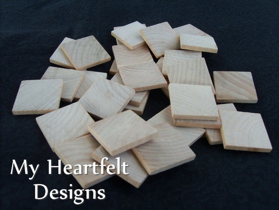 1 inch Wooden Square Tiles (Lot of 250) DIY Unfinished Wood Crafting Pieces, Wedding Crafts