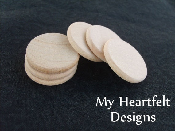 1 inch Wooden Round Circles (Lot of 30) Unfinished Wood Pieces // Crafts, Weddings, Woodworking