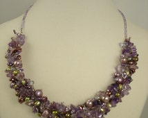 Amethyst chips and aloe freshwater pearls, reversible matching alabaster pendant on seed bead chain with silver findings