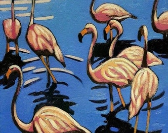 Pink Flamingos Getting Wet, Original Colorful Realistic Oil Painting, Whimsical