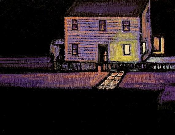Farm House At Night, Original Oil Painting