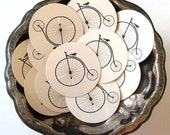 Penny Farthing Bicycle Tags Round Gift Tags Set of 10