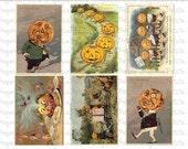 Halloween Postcards Digital Download Collage Sheet D 2.75 x 4 inch