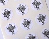 Flower Stickers - One Inch Round Seals