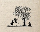 Silhouette Children Playing Tree Swing Digital Download or Iron on Transfer