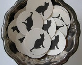 Black Cat Tags Round Gift Tags Set of 10