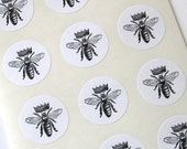 Queen Bee Stickers One Inch Round Seals