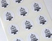 Bird Cage on Stand Stickers - One Inch Seals