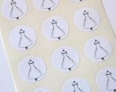 White Dress Stickers One Inch Round Seals