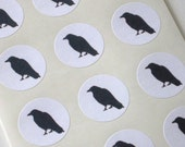 Crow Silhouette Stickers One Inch Round Seals