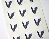Bat Stickers One Inch Round Seals