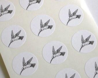 Hummingbird Stickers One Inch Round Seals