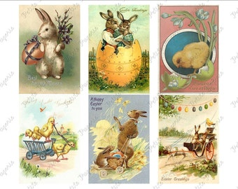 Vintage Easter Postcards Digital Download Collage Sheet A 2.75 x 4 inch