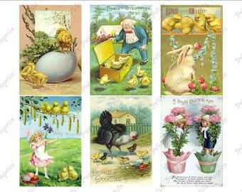 Vintage Easter Postcards Digital Download Collage Sheet H 2.75 x 4 inch