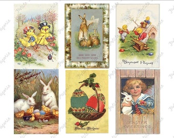 Vintage Easter Postcards Digital Download Collage Sheet B 2.75 x 4 inch