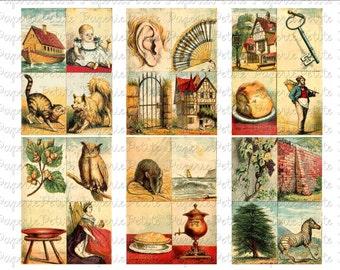 Vintage Alphabet Cards Digital Download Collage Sheet
