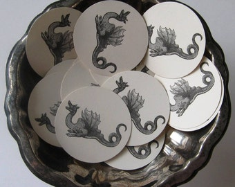 Dragon Tags Round Gift Tags Set of 10