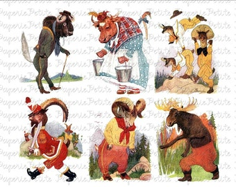 Storybook Animals Digital Download Collage Sheet F