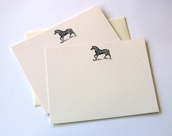 Zebra Note Flats with Matching Envelopes - Set of 12