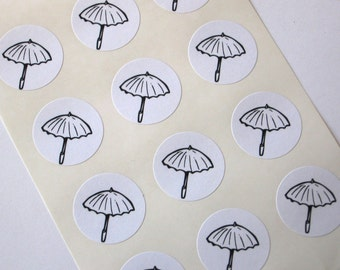 Umbrella Stickers -Seals - Set of 12